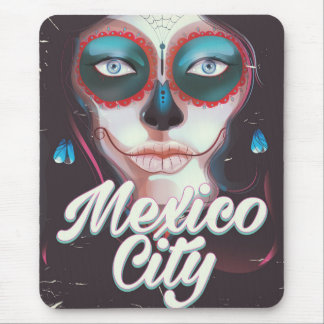 Mexico City Day of the Dead travel poster Mouse Pad