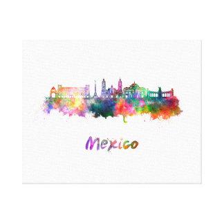 Mexico City V2 skyline in watercolor Canvas Print