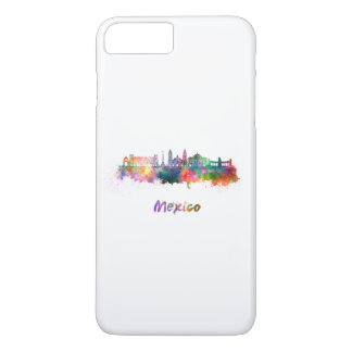 Mexico City V2 skyline in watercolor iPhone 7 Plus Case