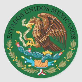 Mexico Coat of Arms Round Sticker