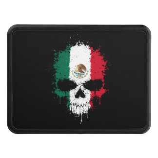 Mexico Dripping Splatter Skull Trailer Hitch Cover