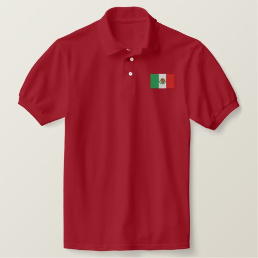 Mexico Flag Embroidered Men S Polo Shirt Zazzle Ca