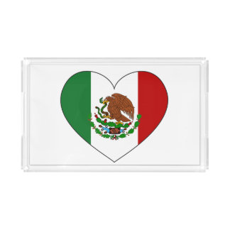 Mexico Flag Heart Acrylic Tray