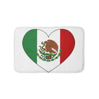 Mexico Flag Heart Bathroom Mat