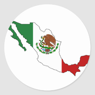 Mexico flag map classic round sticker
