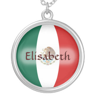 Mexico Flag + Name Necklace