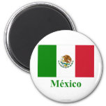 Mexico Flag with Name in Spanish 2 Inch Round Magnet