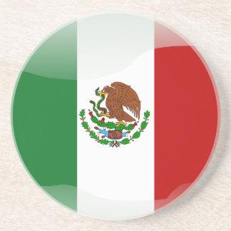Mexico glossy flag coaster