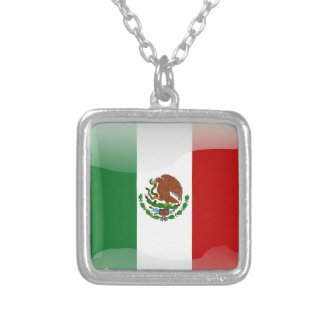 Mexico glossy flag silver plated necklace