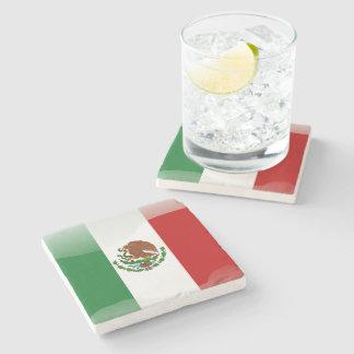 Mexico glossy flag stone coaster