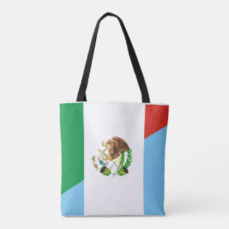 mexico guatemala half flag country symbol tote bag
