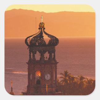 Mexico, Jalisco, Puerto Vallarta. Church tower Square Sticker