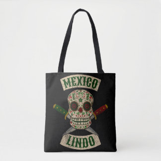 Mexico Lindo. Mexican skull with daggers (vintage) Tote Bag