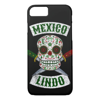 Mexico Lindo. Mexican skull with daggers (white) iPhone 8/7 Case