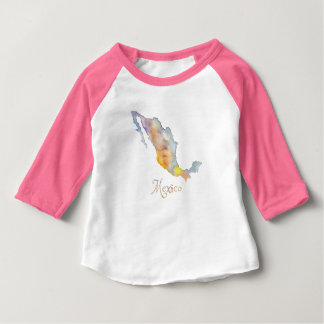 Mexico Map Watercolor Baby T-Shirt