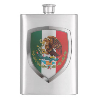 Mexico Metallic Emblem Hip Flask
