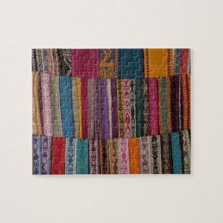 Mexico, Oaxaca Province, Oaxaca, woven belts on Puzzle