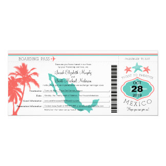 Mexico Palm Tree Starfish Boarding Pass Wedding Card
