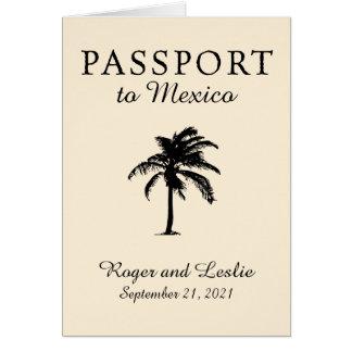 Mexico Passport Palm Tree Wedding Card