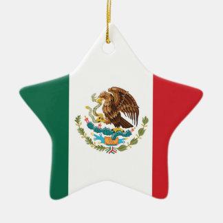 Mexico Plain Flag Ceramic Star Ornament