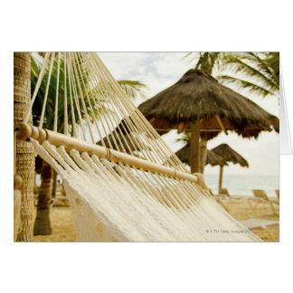 Mexico, Playa Del Carmen, hammock on beach Card