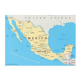Mexico Political Map Acrylic Wall Art