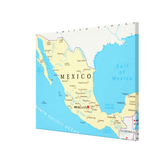 Mexico Political Map Canvas Print