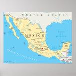 Mexico Political Map Poster