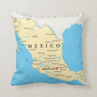 Mexico Political Map Throw Pillow
