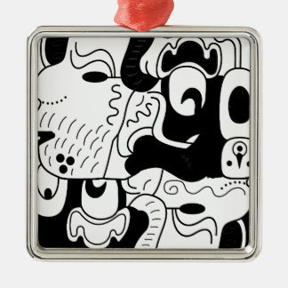 Mexico Silver-Colored Square Ornament