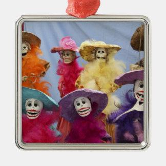 Mexico. Skeletal Catrinas, figures celebrating Silver-Colored Square Ornament