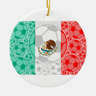 Mexico soccer balls ceramic ornament