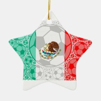 Mexico soccer balls ceramic star ornament