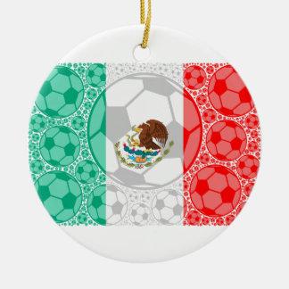 Mexico soccer balls round ceramic ornament