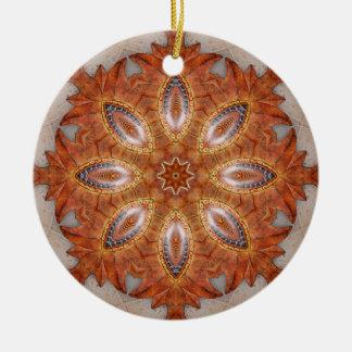 Mexico Sol Kaleidoscope Medallion Round Ceramic Ornament