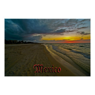 Mexico Sunset on Beach Poster