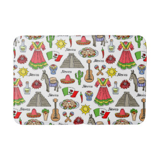 Mexico | Symbols Pattern Bathroom Mat