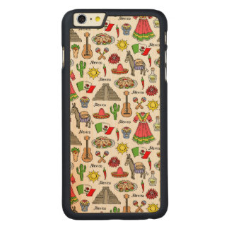 Mexico | Symbols Pattern Carved Maple iPhone 6 Plus Case