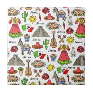 Mexico | Symbols Pattern Ceramic Tile