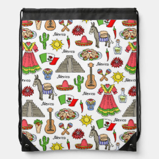 Mexico | Symbols Pattern Drawstring Bag