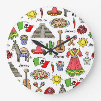 Mexico | Symbols Pattern Large Clock