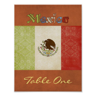 Mexico Table Number Poster
