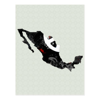 Mexico Trendy Peace Sign with Mexican map Postcard