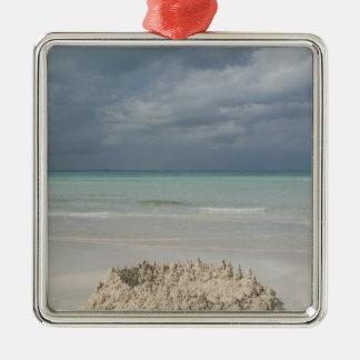 Mexico, Yucatan, Isla Mujeres Island of Silver-Colored Square Ornament