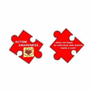 MFH2 PIN - AutismAwarenessREDltyllw Photo Sculpture Button