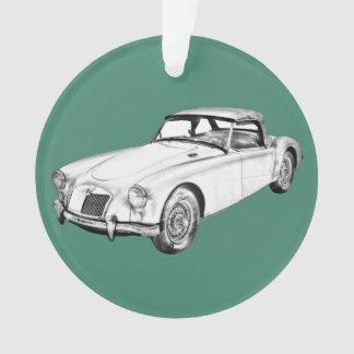MG Convertible Sports Car Illustration Ornament