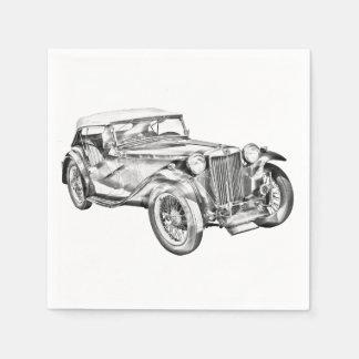 Mg Tc Antique sports Car Illustration Disposable Napkins