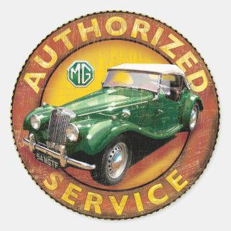 mgtf vintage roadster round sticker