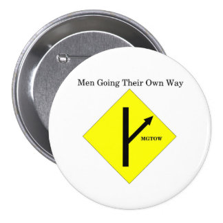 MGTOW Logo Button-Large Size-White Background 3 Inch Round Button