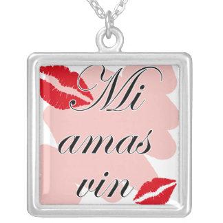 Mi amas vin - Esparanto - I love you Silver Plated Necklace